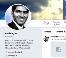 Ravi Sagar Twitter Profile Jira Consultant and Author